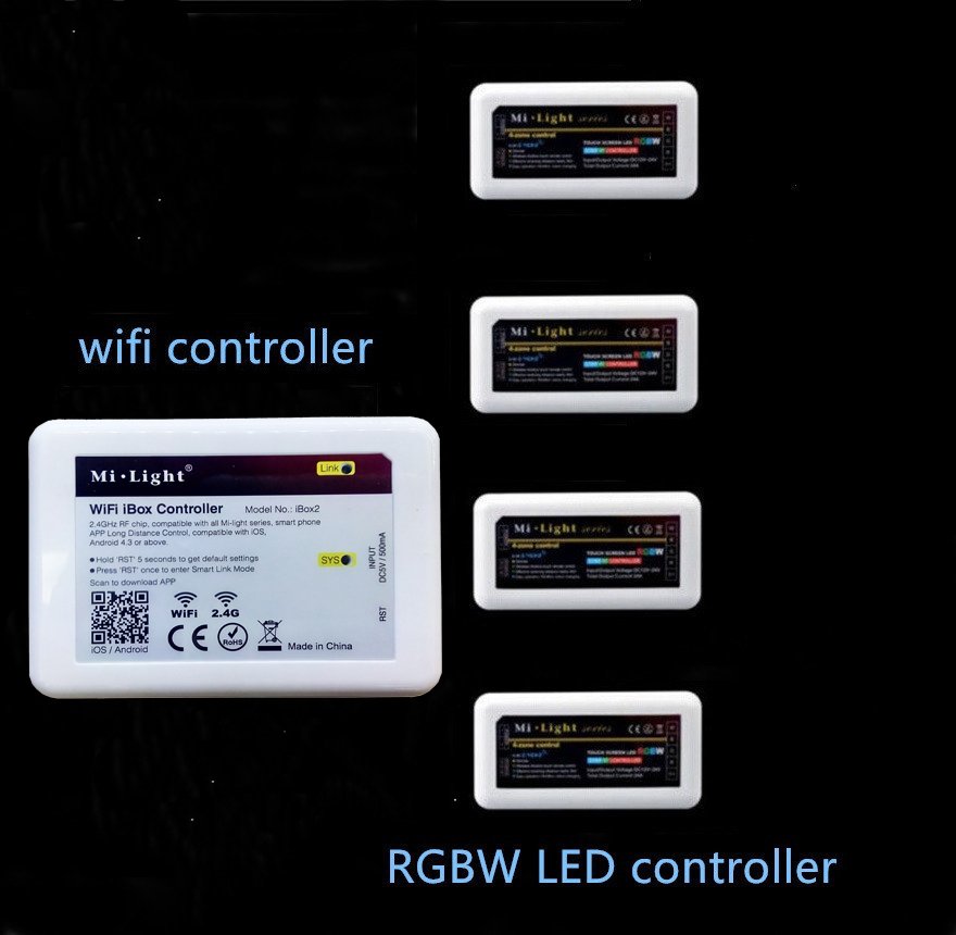 Mi. light wifi ibox led kontrol + 2.4g rf kablosuz rgb rgbw led şerit dc12-24v için rgbw led kontrol