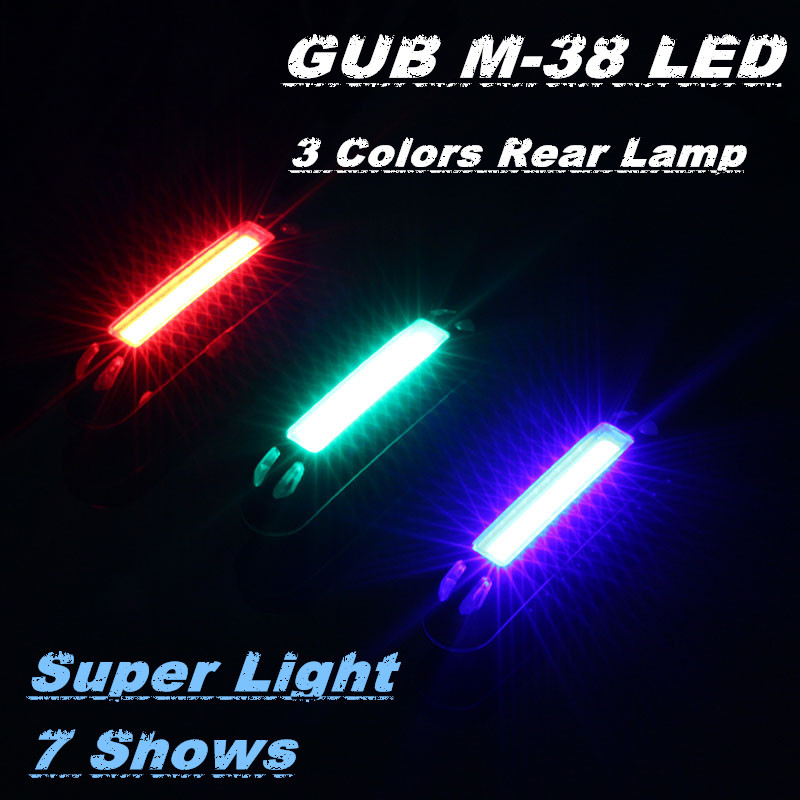 GUB M-38 Super light 3 Colors COB Cycling Bycicle Rear Bike light Taillight USB Rechargeable Bicycle Light Tail Lamp Comet LED